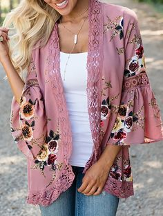 Women Lace Floral Printed Open Front Casual Coat Blouse Kimono Cardigans Cover up Tops Motif Kimono, Gilet Kimono, Women's Kimono Cardigan, Boho Kimono, Kimono Jacket, Floral Kimono, Chiffon Kimono, Cardigan Sweaters, Floral Cardigan