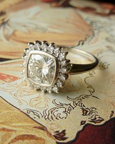 Antique Square Moissanite and Diamond Halo Ring from Kate Szabone's Etsy shop.