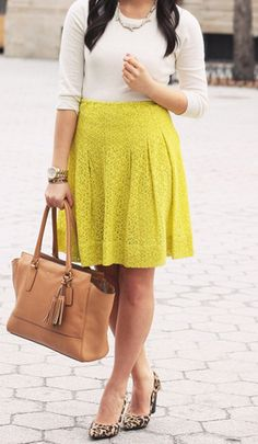 To incorporate this key lime hue into your workplace wardrobe,  you must keep your top and accessories neutral and sophisticated!
