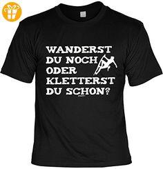 Fun T-Shirt - Wandern Hobby Motiv - Wanderst du noch oder kletterst du schon? - Unisex, Farbe: schwarz - Shirts mit spruch (*Partner-Link)