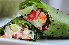 Basil Wraps with Veggies and Spinach Cream —Raw Food Rawmazing Raw Food