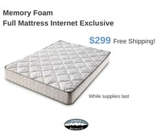 Internet exclusive: Get free shipping on the comfort you've been dreaming of! This high quality, full-sized memory foam mattress from Denver Mattress is just $299 while supplies last. Click the image to get yours for a limited time.