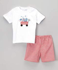 Love this White & Red Wagon Tee & Shorts - Infant, Toddler & Boys on #zulily! #zulilyfinds