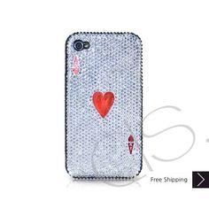 Poker Heart Ace Bling Swarovski Crystal iPhone 5 Case