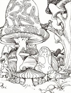 Mushroom picture to color, free