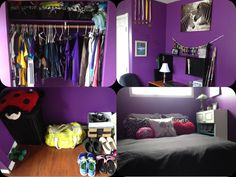 Teenage Girls Bedroom #Purple #White #Black #CherryWood