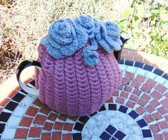 Hand Knitted Flower Tea Cosy by LittleDaisyKnits on Etsy,