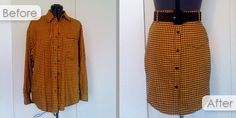 Upcycled Men's Dress Shirt into Women's Pencil Skirt