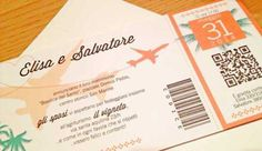 Partecipazione con grafica biglietto viaggio