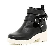 Girls black chunky white sole boots £25.00