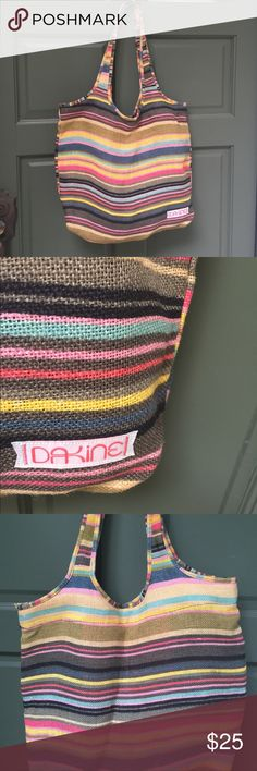 """Dakine like new beach bag serape stripe burlap So cute over the shoulder nice sized carry all!  Has inside zip pocket and mag snap close.  Size is 15""""x18"""" usable space and drop is 12"""". Dakine Bags Totes"""