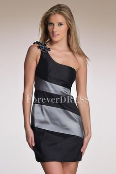 Shoulder Sheath Satin Cocktail Dress Features Floral On Shoulder