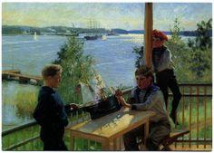 Albert Edelfelt: Gossarna Eklöf på Vila Sjökullas veranda - Eklöfin pojat Villa Sjökullan kuistilla (1890)