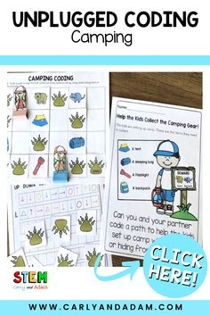Teaching coding to your elementary students does not need to be complicated. No robots required. Just print and go with this easy to implement camping theme unplugged coding challenge. #STEM #STEMchallenge Elementary Teacher, Elementary Schools, Easel Activities, Coding For Kids, Stem Challenges, Stem Projects, Hands On Learning, Camping Theme, Teacher Resources