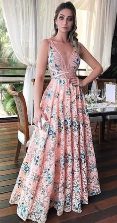 Customized Admirable Prom Dresses A-Line, A-Line Scoop Sleeveless Floor-Length Pink Floral Lace Prom Dress Elegant Dresses, Pretty Dresses, Beautiful Dresses, Evening Dresses, Prom Dresses, Formal Dresses, Dress Vestidos, The Dress, Dress Skirt