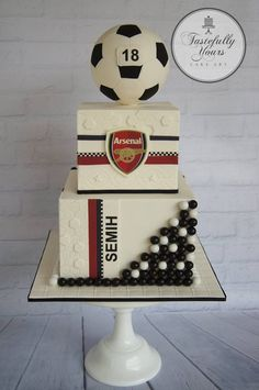 Arsenal soccer cake - Tastefully Yours Cake Art