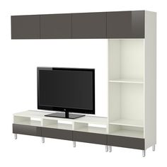 BESTÅ TV storage combination - white/Tofta high-gloss/gray - IKEA