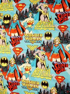 Comic Book Print Super Hero Turquoise Blue DC Super Girl, BatGirl, Wonder Women- Fat Quarter Fabric Cotton Print. $6.00, via Etsy.