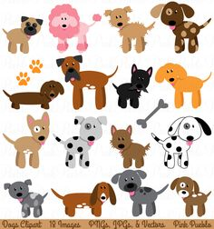 Dog and Puppy Clipart and Vectors by PinkPueblo on Creative Market