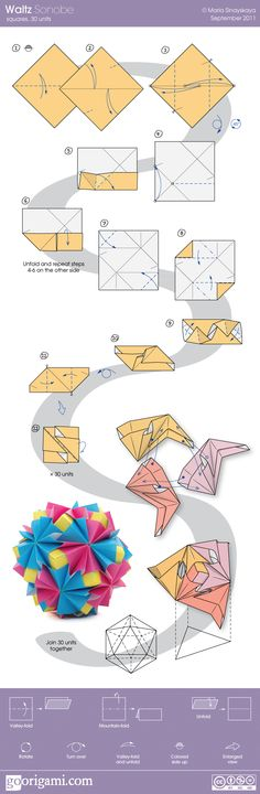 Diagram for a modular origami ball, Kusudama Waltz Sonobe, designed by Maria Sinayskaya. Origami And Kirigami, Origami Ball, Paper Crafts Origami, Diy Paper, Oragami, Modular Origami, Origami Folding, Paper Folding, Origami Instructions