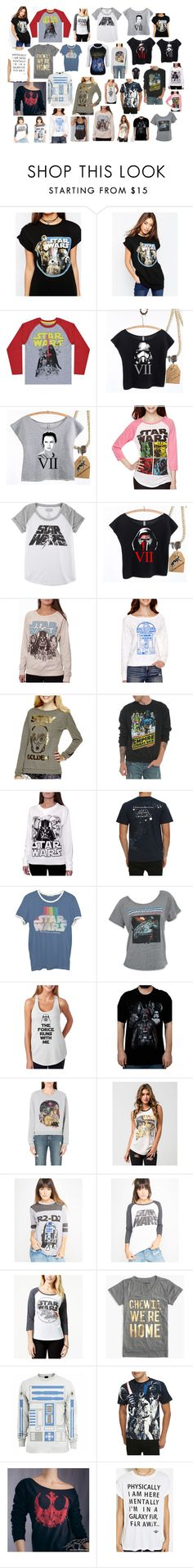 """Star Wars Shirts"" by meefo32o ❤ liked on Polyvore featuring ASOS, Hybrid, Junk Food Clothing, ElevenParis, Freeze, J.Crew, R2, Forever 21, women's clothing and women"