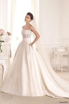 http://www.weddinginspirasi.com/2014/08/06/tarik-ediz-white-2014-wedding-dresses-part-2/ tarik ediz 2014 #bridal collection strapless straight across a line pockets #weddingdress #weddings #wedding