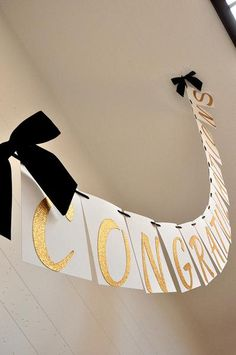 """This Confetti Momma """"Graduation Banner"""" is so irresistible. It can be such a chic party focal point for your graduation party. You could hang one on your mantle College Graduation Parties, Graduation Party Supplies, Grad Parties, Graduation Ideas, Graduation Table Decorations, Graduation Banner, Graduation Cupcakes, Black And Gold Centerpieces, Congratulations Graduate"""