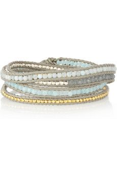 Silver, gold-plated, quartz and jade five-wrap bracelet