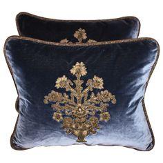velvet pillows | Pair of Metallic Appliqued Velvet Pillows at 1stdibs