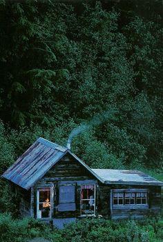 Cabin at Porcupine Creek, Alaska.