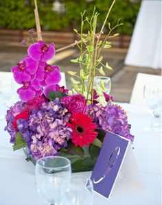 WeddingChannel Galleries: Orchid and Gerber Daisy Centerpiece. love the colors and gerbers are my favorite!