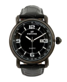 53d16af502a Black Leather Watches by Fortuner. Made from synthetic leather