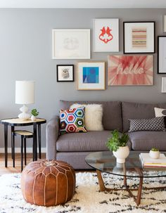 leather pouf living room - Google Search