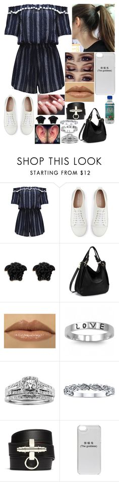 """""""Untitled #3158 - 🎧 i gave my all for you, now my hearts in two and i can't find the other half. 🎧"""" by nicolerunnels ❤ liked on Polyvore featuring WithChic, Mint Velvet, Versace, J.A.K., Fantasy Jewelry Box, A.Jaffe, Nicole By Nicole Miller and Givenchy"""