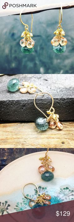 """MWT Aquamarine & blush CZ's cluster earrings Stunning Moss Aquamarine faceted onion cut with a cluster of delicate tear drop of blushed cubic zirconia. All hand wire wrapped with a 14K gold fill wire and hanging on a hammered gold fill hook. These are simply stunning and will work with many styles and color. Great for any season. About 1.5"""" in length. Hypoallergenic . Matana Jewelry Earrings"""
