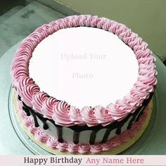 Birthday Three Layer Cake Image With Name And Photo Happy Birthday Love Cake, Heart Birthday Cake, Happy Birthday Chocolate Cake, Image Birthday Cake, Birthday Card With Name, Friends Birthday Cake, Happy Birthday Wishes Cake, Unique Birthday Cakes, Happy Birthday Frame