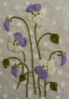 embroidered felt violas