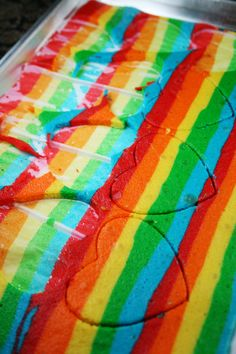 How to make a Rainbow Heart Surprise-Inside Cake http://www.momlovesbaking.com/heart-surprise-inside-cake/