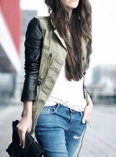 Leather sleeve utility jackets.