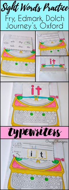 Use these typewriters sight words activities with your kids as engaging reading strategies and introduce, practice and review Fry, Dolch, Edmark, Journey's, Oxford words. Teach sight words in an engaging way with kids in preschool, kindergarten, first grade, second grade. | CrazyCharizma