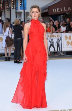 Amber Heard stuns in this flowy red Emilio Pucci dress