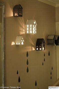 eteinen,kynttilä,lyhty,tunnelmallinen,kynttilälyhty Little Houses, Wonderful Time, Lanterns, Candles, Lights, Inspiration, Christmas, Design, Home Decor
