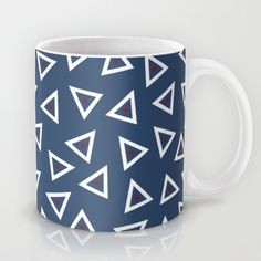 Triangle Spots Mug #blue #navy #white #red #triangles #spots #dots #geo #geometric