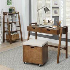 USL Charles Natural Walnut Small Office Desk – The Home Depot – Home Office Design Corner Small Office Desk, Desks For Small Spaces, Small Writing Desk, Glass Office, Black Corner Desk, Writers Desk, Desk Essentials, Bookshelf Desk, Home Desk