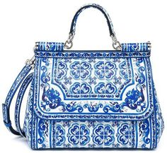 Dolce & Gabbana Sicily Medium Italian Tile Textured Leather Top-Handle Satchel