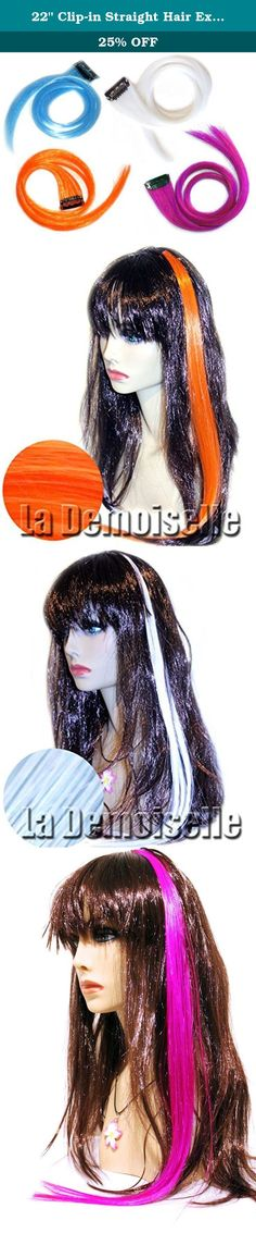 """22"""" Clip-in Straight Hair Extension (Magenta, Orange, White and Sky Blue) Plus Bonus Ponytail Holder. Amazing and vibrant! Highlight your hair for a fun style! Add a splash of color to brighten up the day! Each piece has a fine metal clip-in comb that will slide easily into any hair type. Bend the clip to open, insert into hair, then bend to close. Extensions have a subtle wave in it making it look very natural! *** Do not comb wet. Blow dry with a brush with low heat. Note: Initial…"""