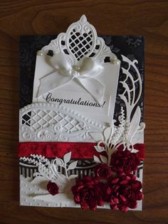 Wedding card for my beautiful Niece.  Made with Marianne Designs dies.  Roses are from Cricut Flower Shoppe.
