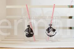Pirate Party cups with Straws  Pirate Birthday Pirate baby