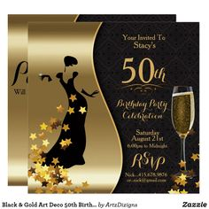 Black & Gold Art Deco 50th Birthday  Invitation
