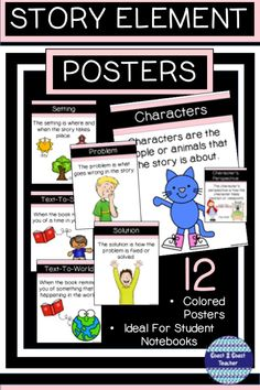 These attractive Story Elements Colored Posters are easy to print and display! Use for literacy lessons, as anchor charts, for bulletin board displays or include them in student notebooks! #storyelements #storyelementsposters #coast2coastteacher #teacherspayteachers